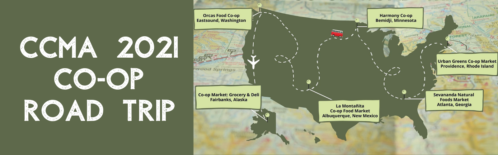 Co-op ROad Trip Banner - map of US with co-op road trip stops highlighted